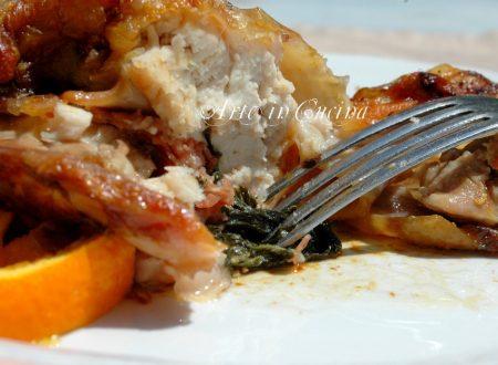 Pollo ripieno con verdura al forno