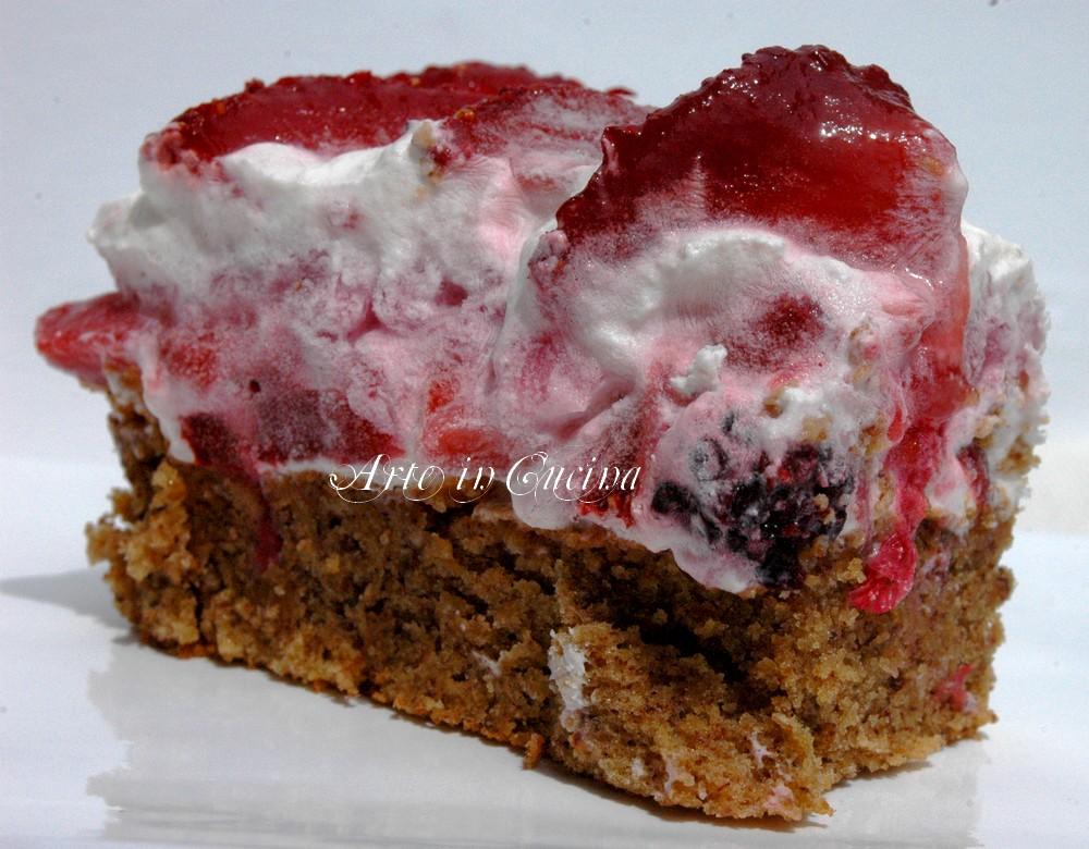Torta senza farina con cheesecake alle fragole vickyart arte in cucina