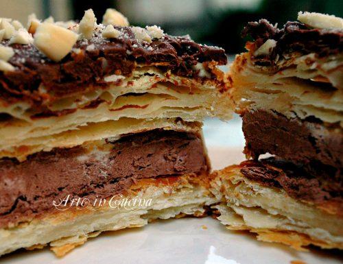 Torta millefoglie con gelato al cioccolato e nutella