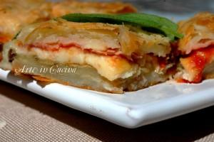 Torta salata parmigiana con pasta sfoglia veloce alla ricotta o philadelphia