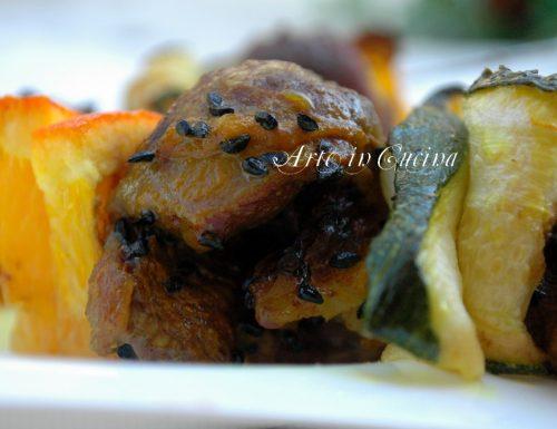 Carne e zucchine spiedini al forno