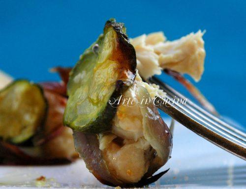 Pollo al forno con zucchine e cipolle
