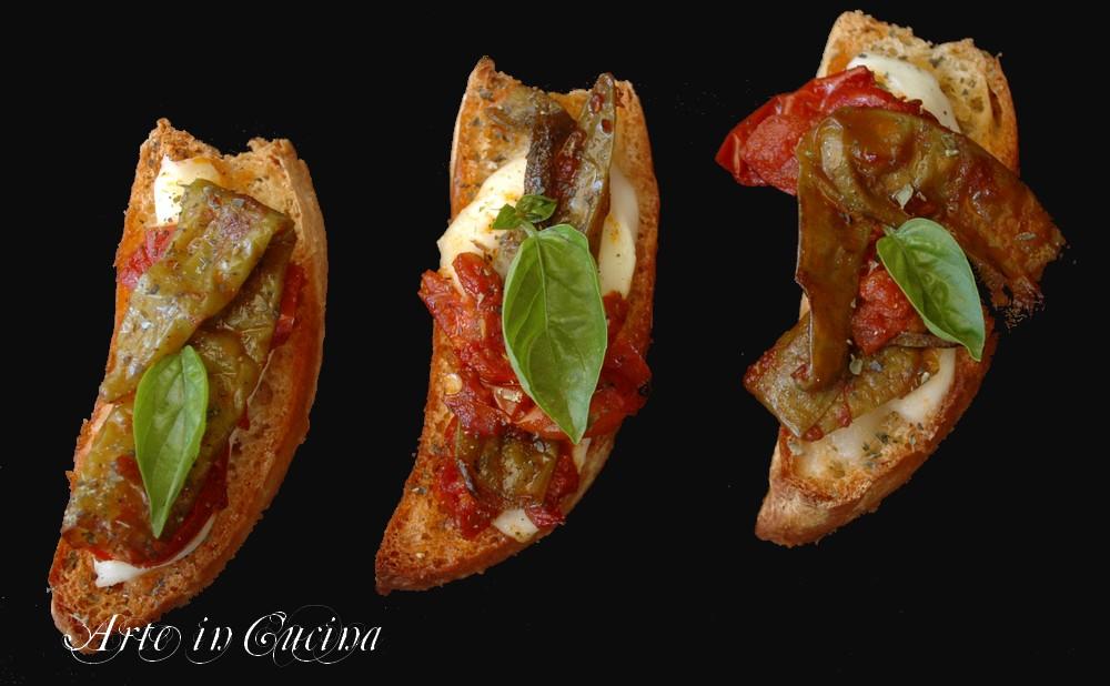Bruschette friggitelli e mozzarella di bufala menu napoletano vickyart arte in cucina