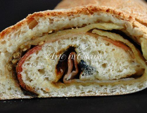 Pane veloce farcito con melanzane e speck