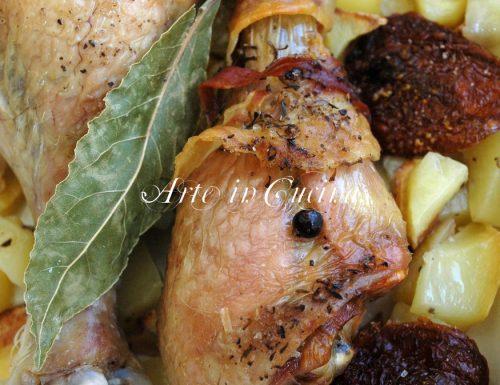 Pollo al forno con patate e pancetta