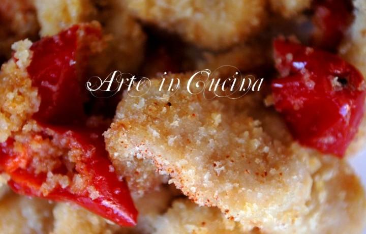 Pollo panato al forno con peperoni dolci