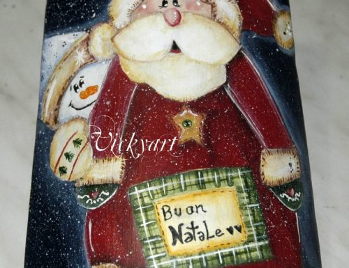 Tegolina decorata Babbo Natale idea regalo