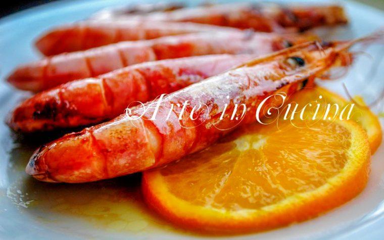 Gamberoni al forno marinati alla arancia