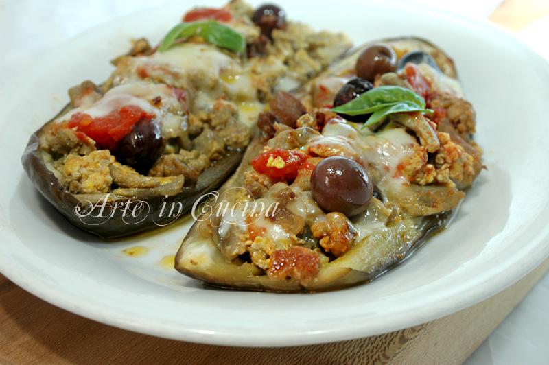 melanzane ripiene con salsiccia senza forno ricetta arte in cucina