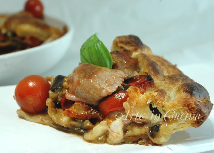 Torta salata con salsicce e melanzane arte in cucina - Come cucinare salsiccia ...
