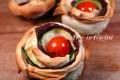 Antipasto con zucchine rose di pasta fillo