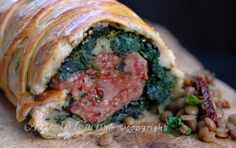 Cotechino in crosta di pasta sfoglia con spinaci