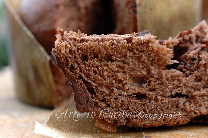 Panettone al cioccolato con copertura fondente ricetta arte in cucina