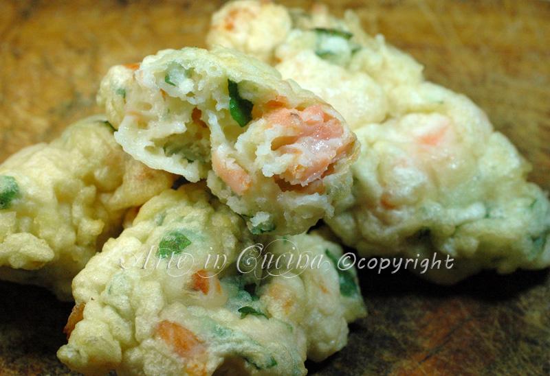Antipasto di mare frittelle di salmone ricetta veloce vickyart arte in cucina