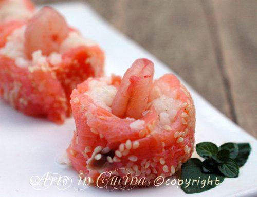 Involtini di salmone e riso