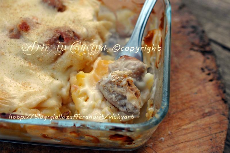 Patate con salsiccia e besciamella ricetta vickyart arte in cucina
