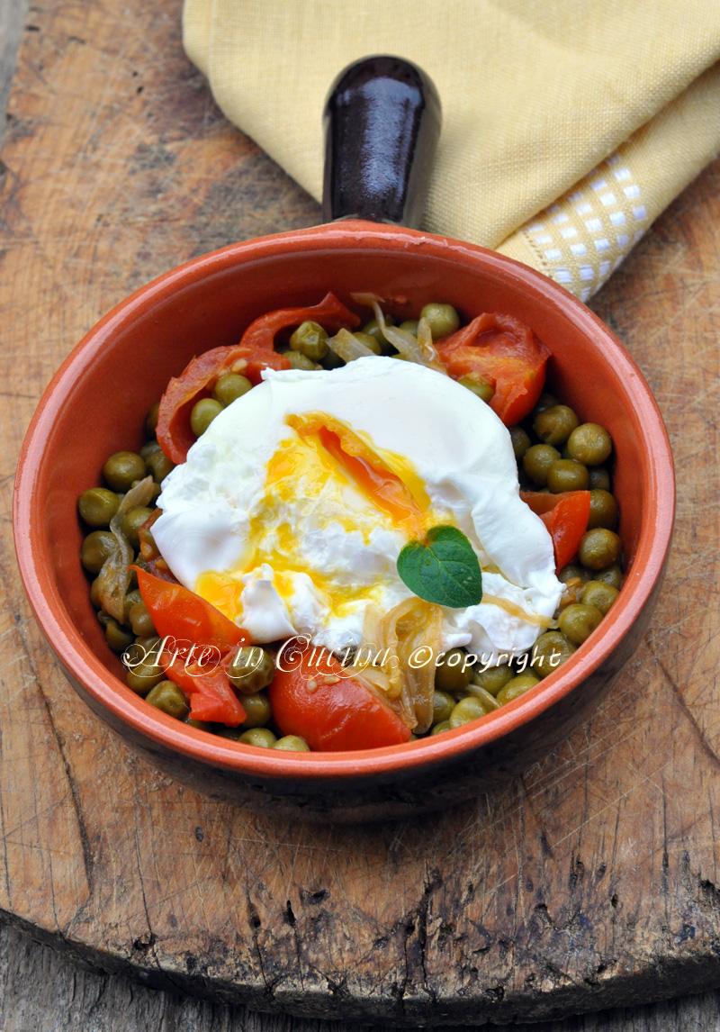 Uova con piselli ricetta light veloce economica vickyart arte in cucina