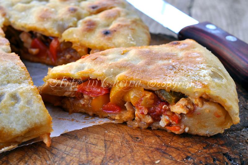 Chicken pie con peperoni in padella torta salata vickyart arte in cucina
