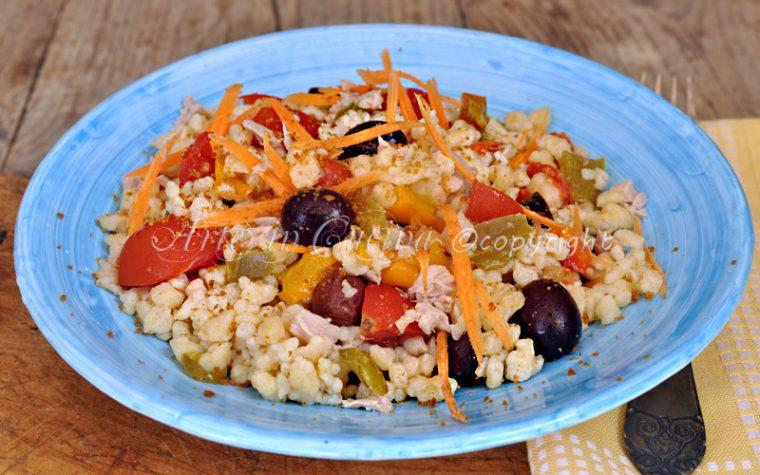 Fregola con verdure all'insalata