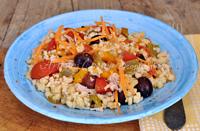Fregola con verdure all'insalata ricetta sarda vickyart arte in cucina
