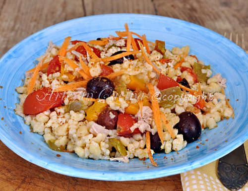 Fregola con verdure all'insalata