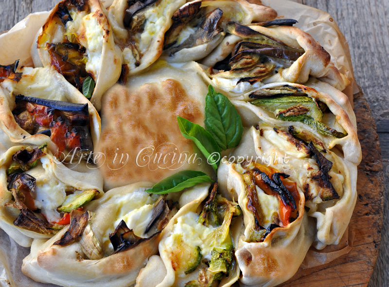 Torta girasole salata con verdure miste vickyart arte in cucina