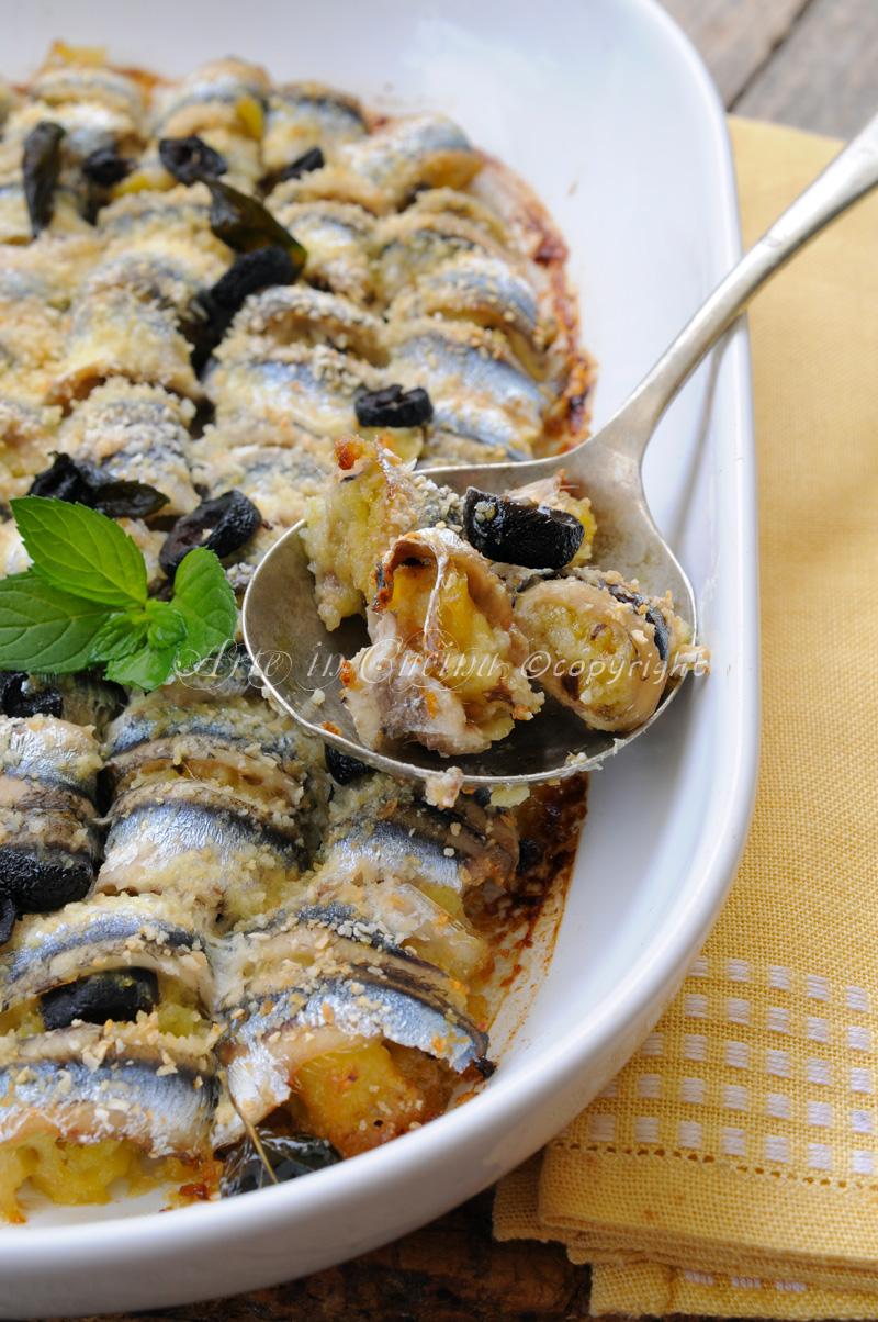 involtini di alici al forno con patate e olive arte in