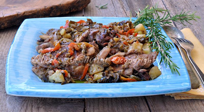 Tacchino con peperoni e patate in tegame senza forno vickyart arte in cucina