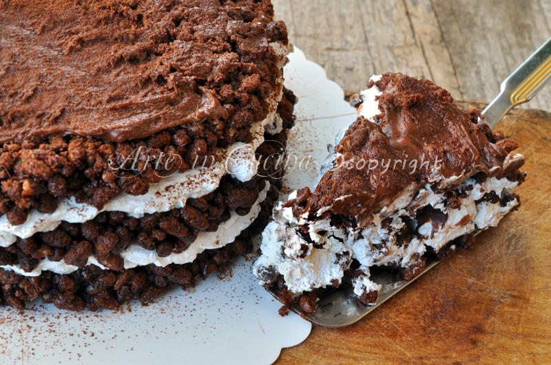 Torta riso soffiato cioccolato nutella e panna vickyart arte in cucina
