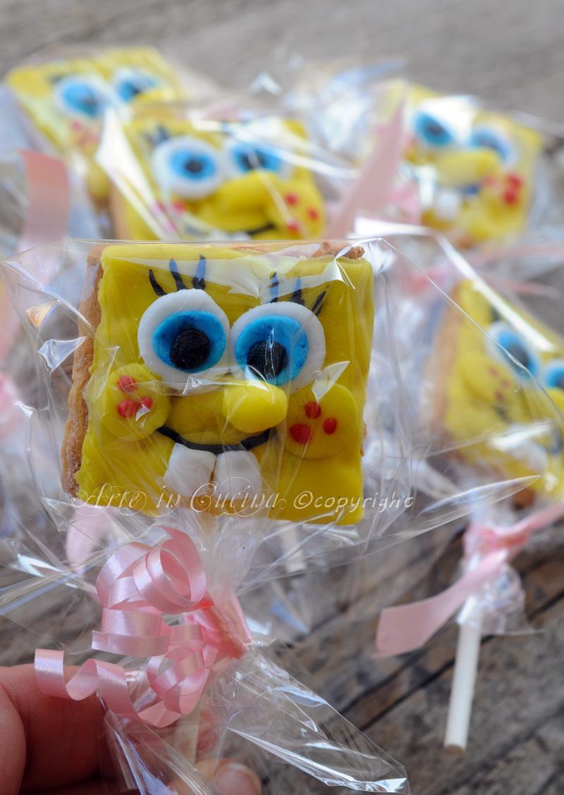 Biscotti spongebob su stecco per feste bambini vickyart arte in cucina
