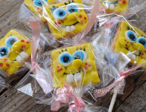 Biscotti spongebob su stecco per feste bambini