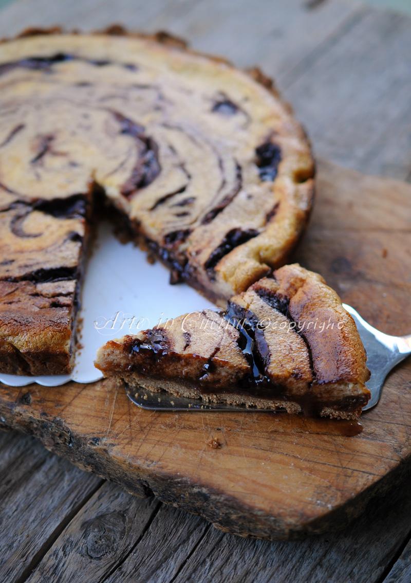 Cheesecake al forno al tiramisu variegata con nutella  vickyart arte in cucina
