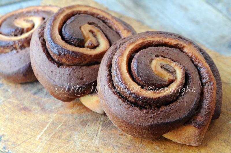 Girelle di pan brioche bicolore alla nutella vickyart arte in cucina