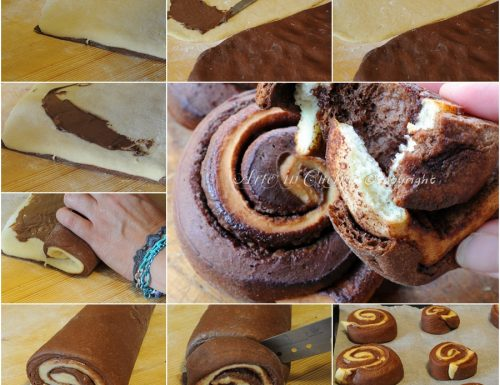 Girelle di pan brioche bicolore alla nutella