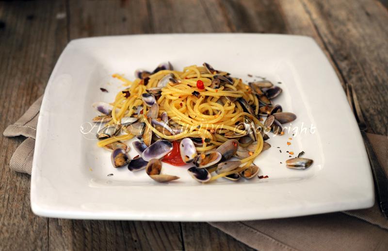 Spaghetti con telline primo di mare veloce vickyart arte in cucina