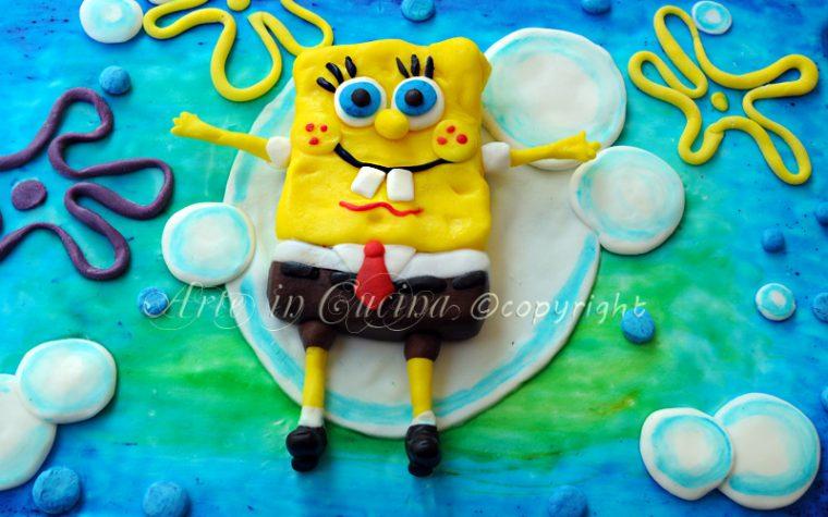 Torta spongebob con pasta di zucchero senza forno