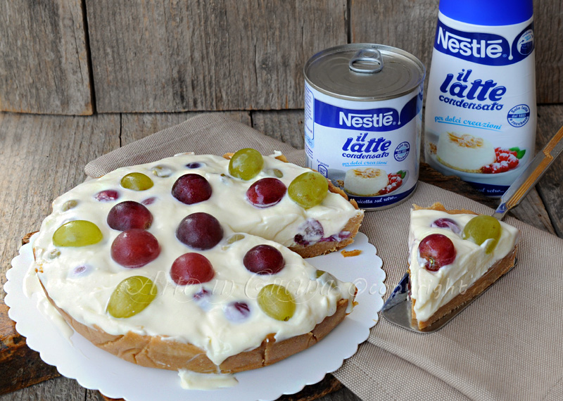 Cheesecake fredda all'uva con latte condensato vickyart arte in cucina