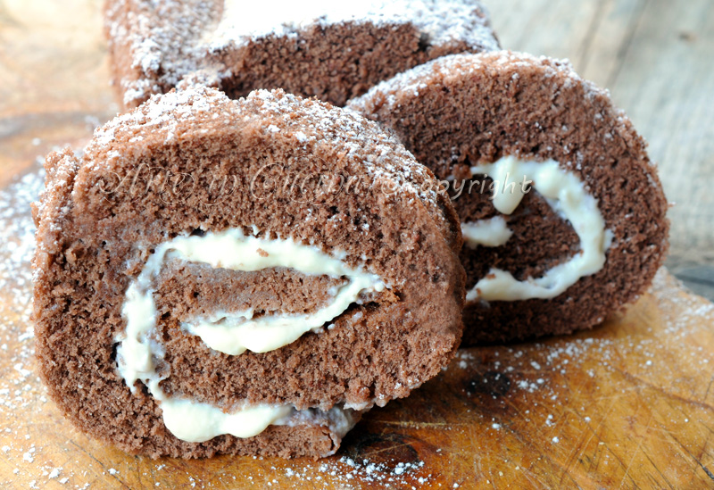 Rotolo al cacao con crema alla ricotta e mascarpone vickyart arte in cucina
