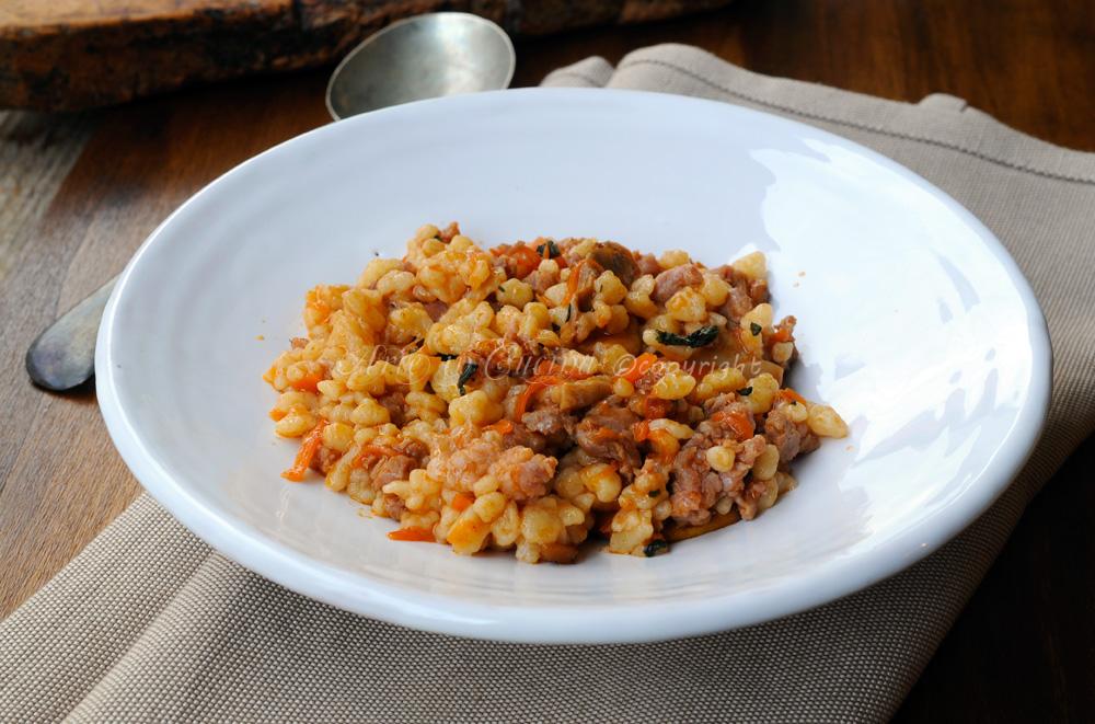 Fregola con funghi e salsiccia ricetta sarda vickyart arte in cucina