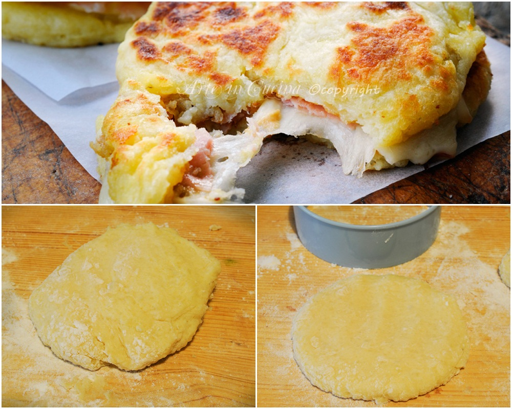 Pizzette di patate farcite in padella ricetta sfiziosa vickyart arte in cucina