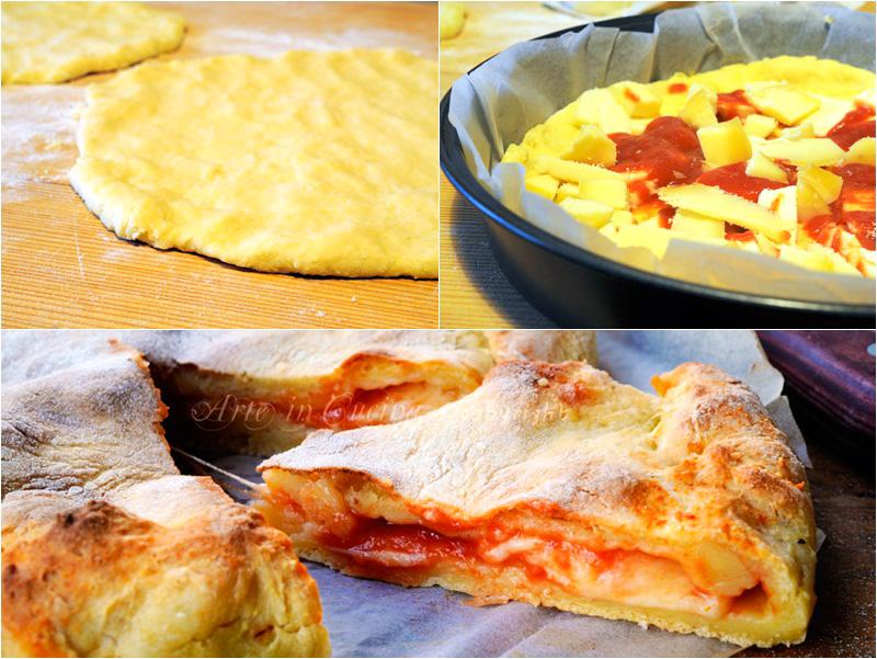 Torta salata con patate ripiena mozzarella e pomodoro vickyart arte in cucina