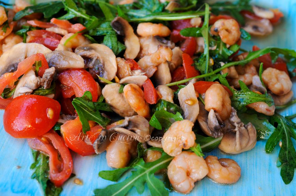 Insalata di funghi e gamberetti vickyart arte in cucina