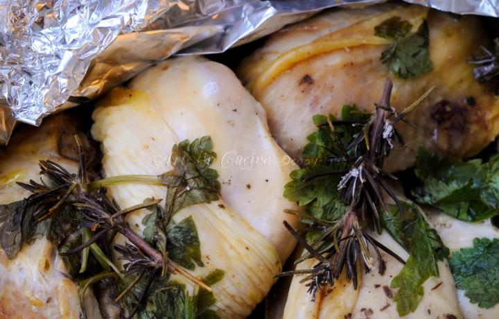 Pollo al cartoccio con limone e spezie