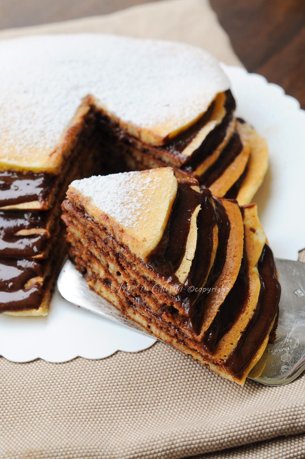Torta di pancake con nutella ricetta colazione vickyart arte in cucina