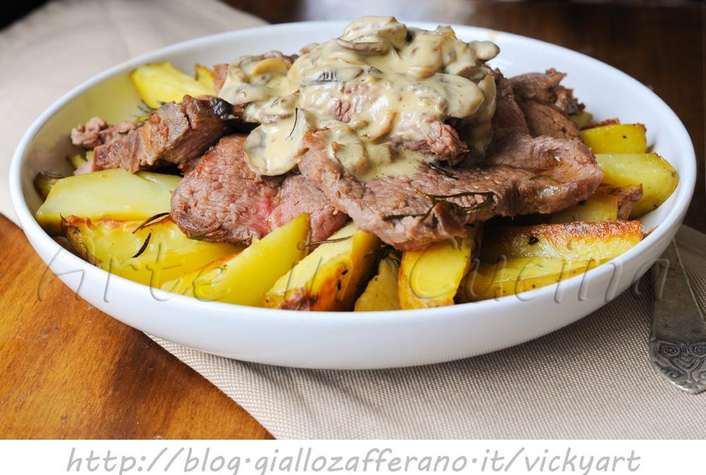 Manzo con crema di funghi champignon e patate vickyart arte in cucina