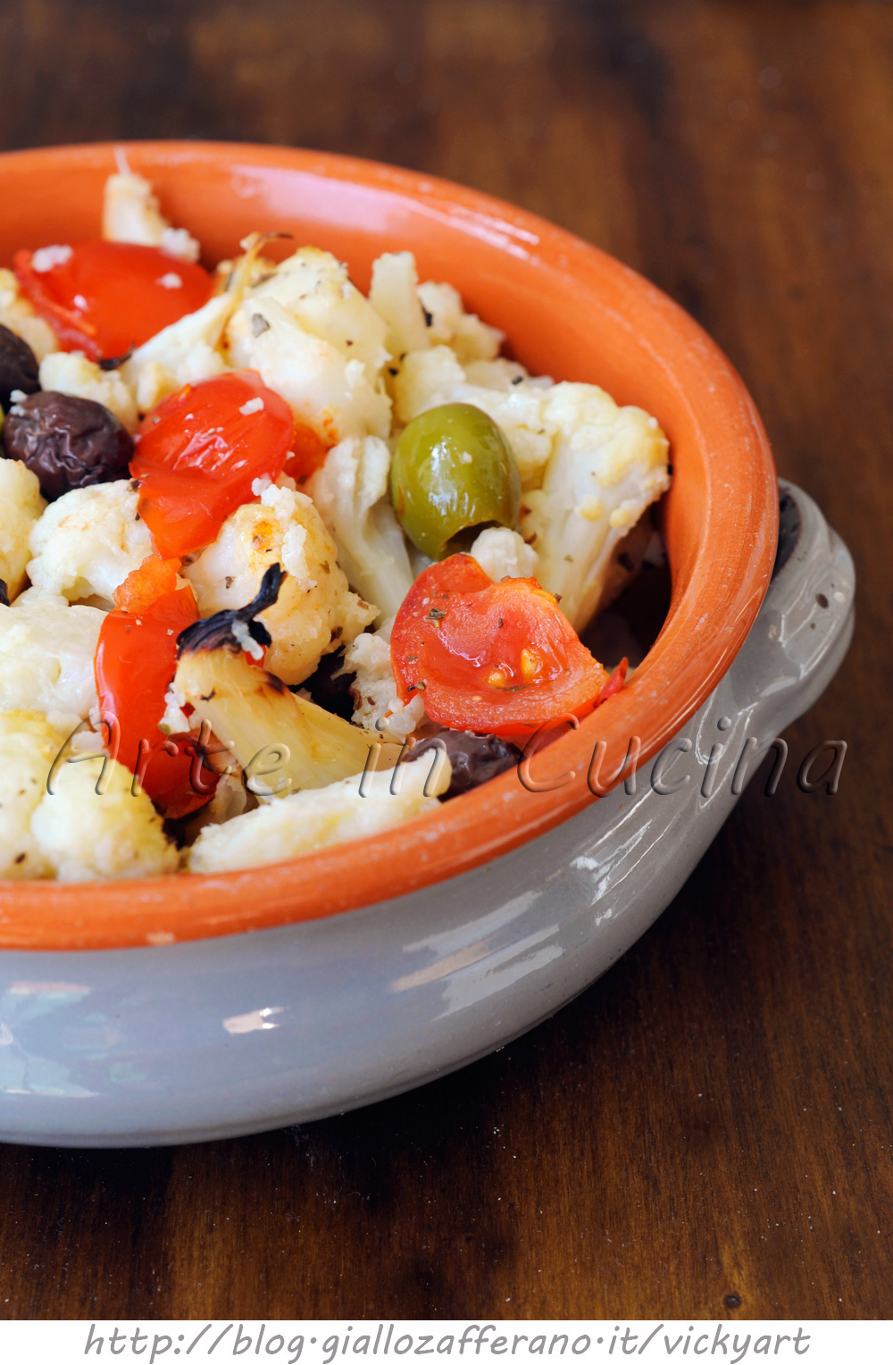 Cavolfiore con pomodori e olive al forno vickyart arte in cucina