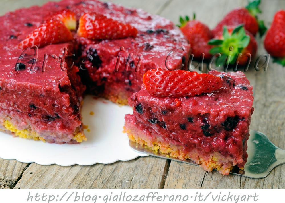 Cheesecake senza cheese fragole e frutti di bosco light vickyart arte in cucina