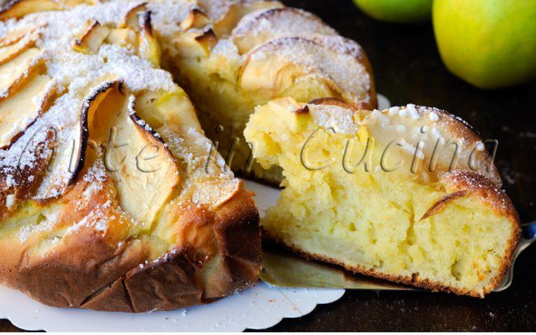 Torta morbida di ricotta e mele al limone