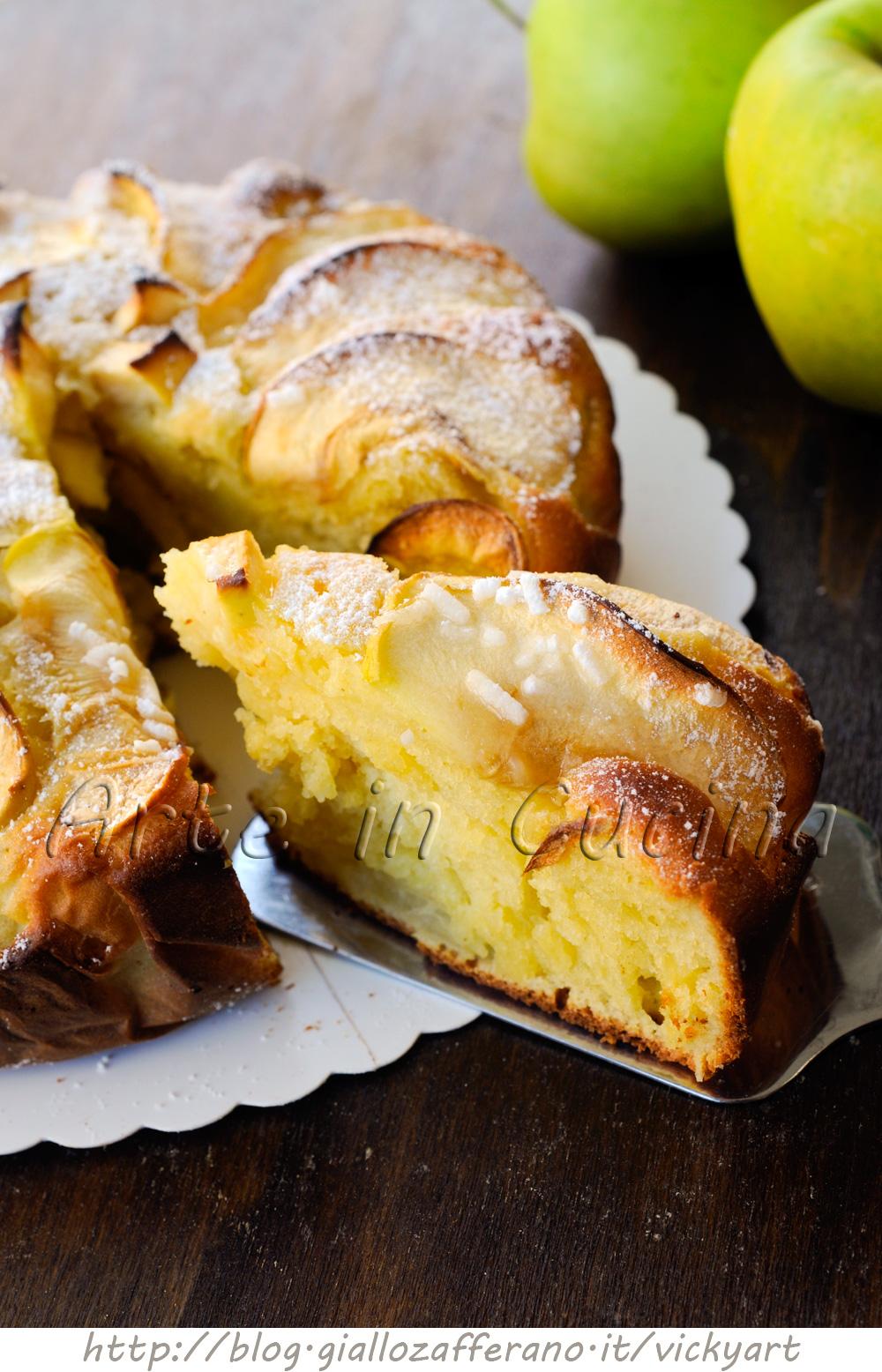 Torta morbida di ricotta e mele al limone vickyart arte in cucina