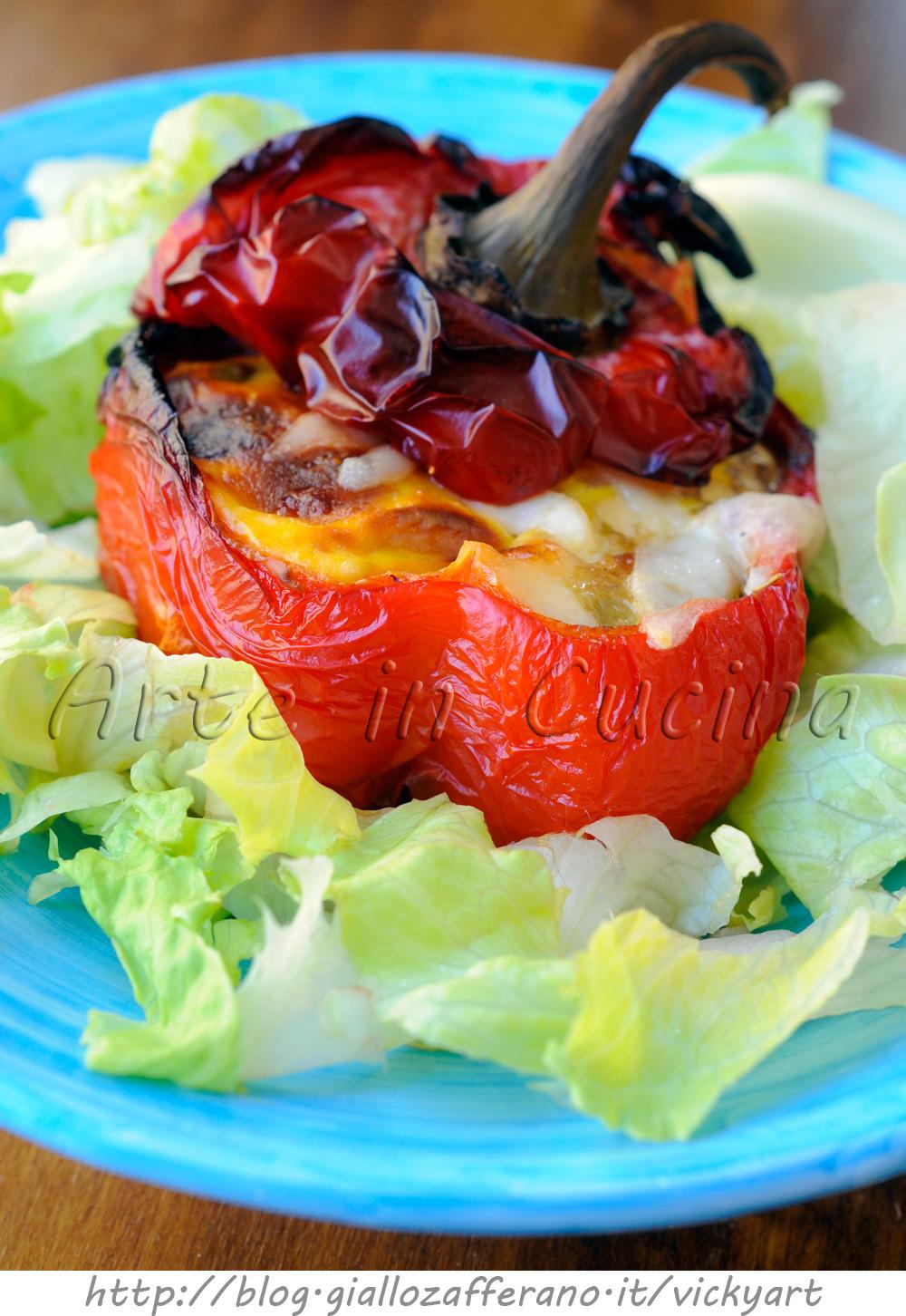 Peperoni ripieni al forno con carne e ricotta vickyart arte in cucina